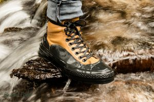 Hiking boot in the forest