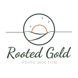 rooted gold logo branding