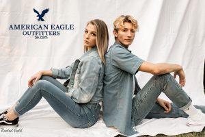 couple fashion photo with American eagle logo