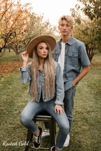 fashion image featuring couple in jean